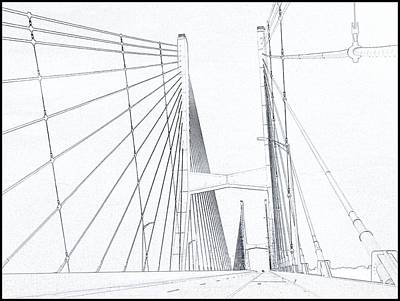 Crosswalk Digital Art - Suspension Bridge Sketch by Dan Sproul