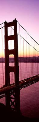 Suspension Bridge At Sunrise, Golden Art Print by Panoramic Images