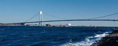 New York Harbor Photograph - Suspension Bridge Over A Bay by Panoramic Images