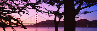Suspension Bridge Over Water, Golden Art Print by Panoramic Images