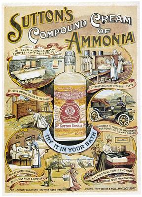 Ammonia Photograph - Sutton's Compound Cream Of Ammonia Vintage Ad by Gianfranco Weiss