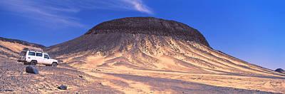 Suv Moving In A Desert, Black Desert Art Print