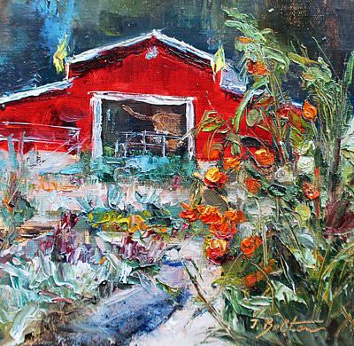 Garden With Red Barn Original