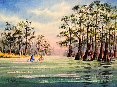 Cypress Swamp Painting - Suwannee River by Bill Holkham