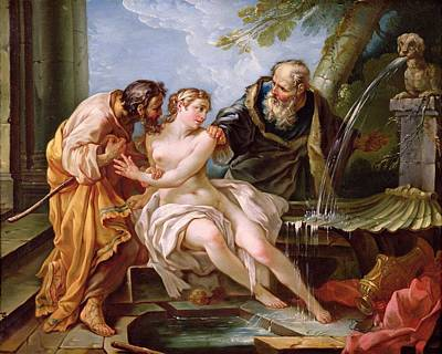 Suzanna And The Elders, 1746 Oil On Canvas Art Print by Joseph-Marie the Younger Vien