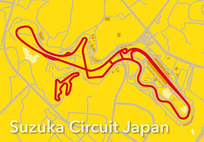 Printed Circuit Digital Art - Suzuka Circuit Japan by Big City Artwork