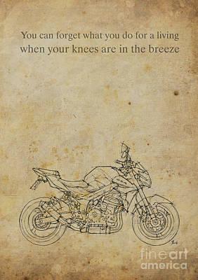 Bike Drawing - Suzuki Gsr - Motorcycle Quote by Pablo Franchi