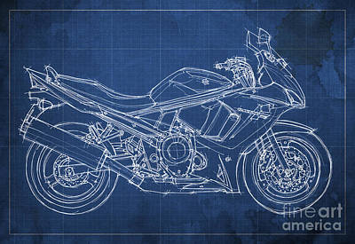 Handmade Drawing - Suzuki Gsx 650f 2011 Blueprint by Pablo Franchi