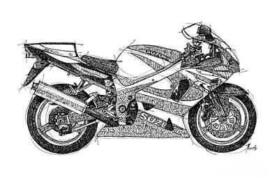 Harley Davidson Motorcycle Drawing - Suzuki Gsx 750 by Pablo Franchi