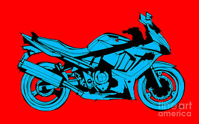 Bike Drawing - Suzuki Red And Blue by Pablo Franchi