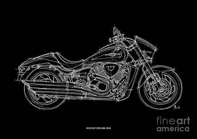 White On Black Drawing - Suzuki Vzr 1800 - 2011 by Pablo Franchi