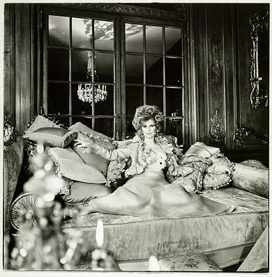 Photograph - Suzy Mehle On A Sofa In Her Mansion by Raymundo de Larrain