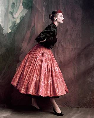 Quilt Art Photograph - Suzy Parker In A Givenchy Skirt by John Rawlings