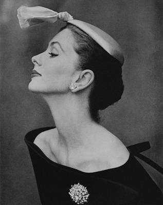 Black And White Photograph - Suzy Parker In An Off-the-shoulder Dress by John Rawlings