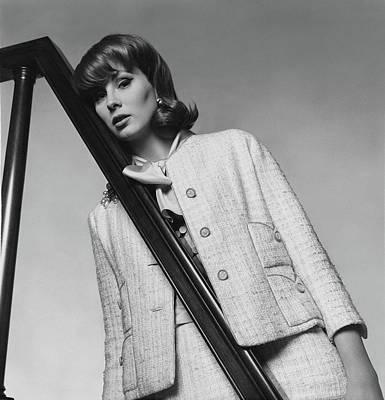 Fringe Jacket Photograph - Suzy Parker Wearing A Chanel Suit by Horst P. Horst