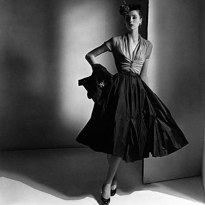 Gathered Dress Photograph - Suzy Parker Wearing A Dior Dress And Jacket by Horst P. Horst
