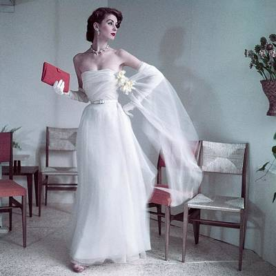 White Gloves Photograph - Suzy Parker Wearing A Gown By Christian Dior by Frances Mclaughlin-Gill