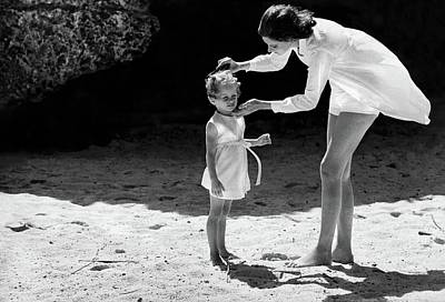 Photograph - Suzy Parker With Her Daughter At Sam Lord's by Henry Clarke