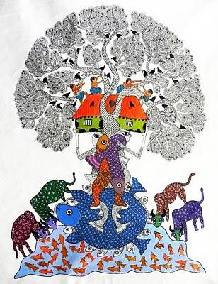 Gond Art Painting - Sv 105 by Subhash Vyam