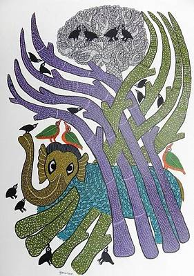 Gond Tribal Art Painting - Sv 108 by Subhash Vyam