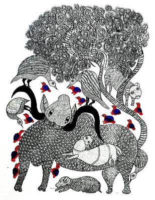 Gond Tribal Art Painting - Sv 36 by Subhash Vyam