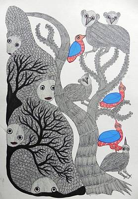Gond Tribal Art Painting - Sv 51 by Subhash Vyam