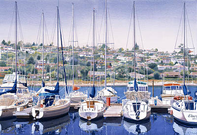 Yachts Painting - Sw Yacht Club In San Diego by Mary Helmreich