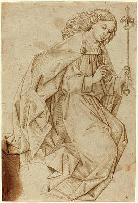 Annunciation Drawing - Swabian School, The Angel Of The Annunciation by Quint Lox