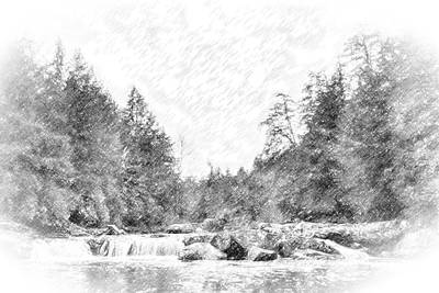 Moody Trees - Swallow Falls waterfall Pencil Sketch by Patrick Wolf