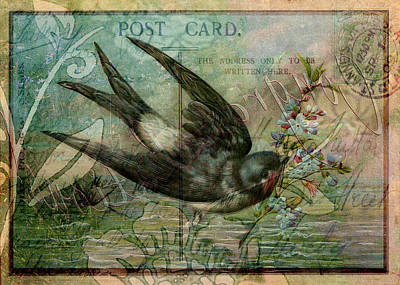 Swallow With Flowers Art Print by Sarah Vernon