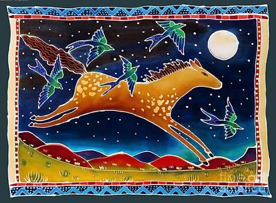 Wild Horse Painting - Swallows And The Midnight Mustang by Harriet Peck Taylor