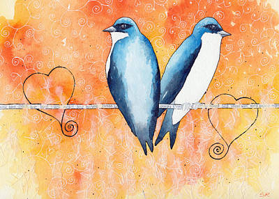 Rosedahl Painting - Swallows by Sarah Rosedahl