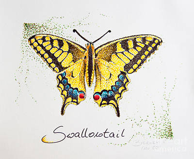 Drawing - Swallowtail - Butterfly by Katharina Filus