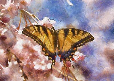 Digital Art - Swallowtail Butterfly On Cherry Blossom by Charmaine Zoe