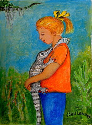 Louisiana Alligator Painting - Swamp Girl by Joan Landry