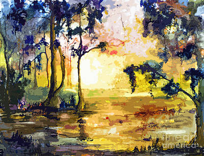 Painting - Swamp Lights Okefenokee Georgia By Ginette by Ginette Callaway