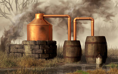 Appalachian Wall Art - Digital Art - Swamp Moonshine Still by Daniel Eskridge