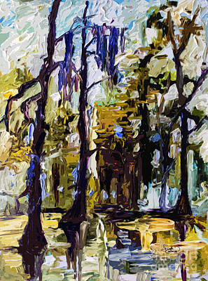 Swamp Morning Cypress Trees Art Print