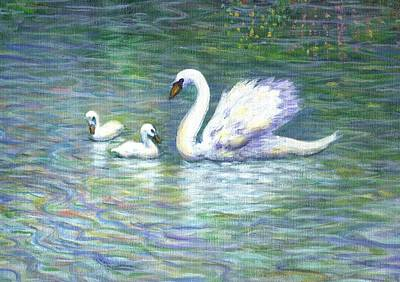 Twins Painting - Swan And Two Babies by Linda Mears