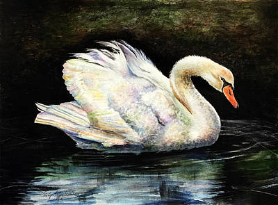 Painting - Swan At Middleton Place Charleston South Carolina by Carolyn Coffey Wallace