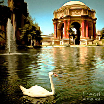 Bay Area Digital Art - Swan At The San Francisco Palace Of Fine Arts 5d18069 Square by Wingsdomain Art and Photography