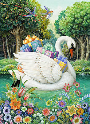 Swans... Painting - Swan Boat by Lynn Bywaters