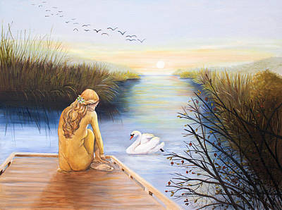Painting - Swan Bride At Sunrise by Dorothy Riley