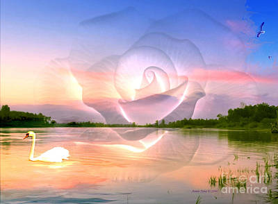 Photograph - Swan In Lake With Rose by Annie Zeno