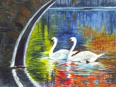 Autumn Landscape Drawing - Swan Lake by Carol Wisniewski