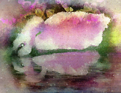 Digital Art - Swan Lake Reflection by Jill Balsam