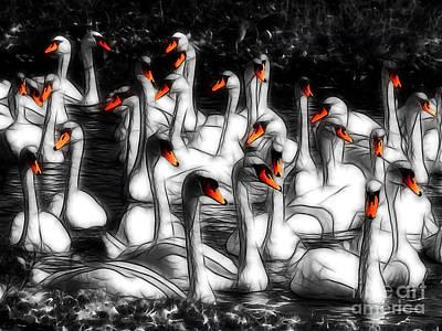 Fractalius Fun Photograph - Swan Lake by Susie Peek