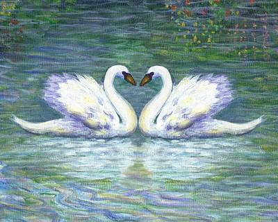 Swan Painting - Swan Love by Linda Mears