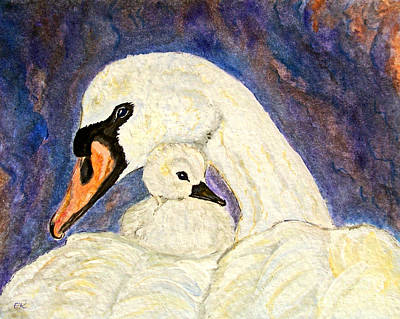 Art Print featuring the painting Mother's Love Swan And Baby Painting by Ella Kaye Dickey