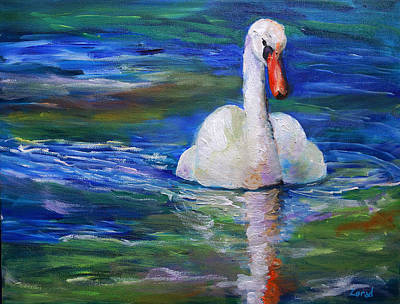 Painting - Swan Oil Painting by Mary Jo Zorad